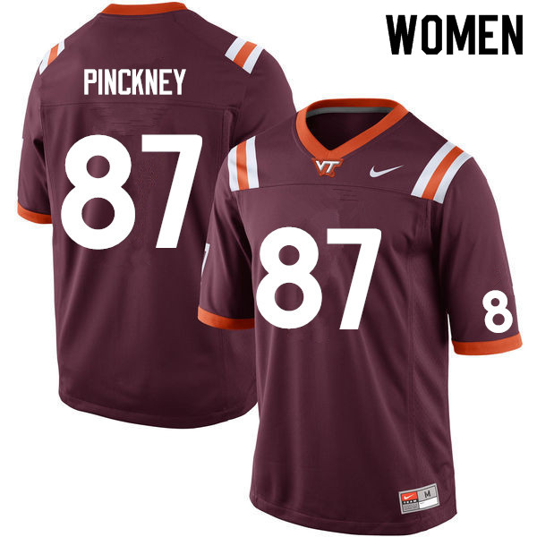 Women #87 Jacoby Pinckney Virginia Tech Hokies College Football Jerseys Sale-Maroon