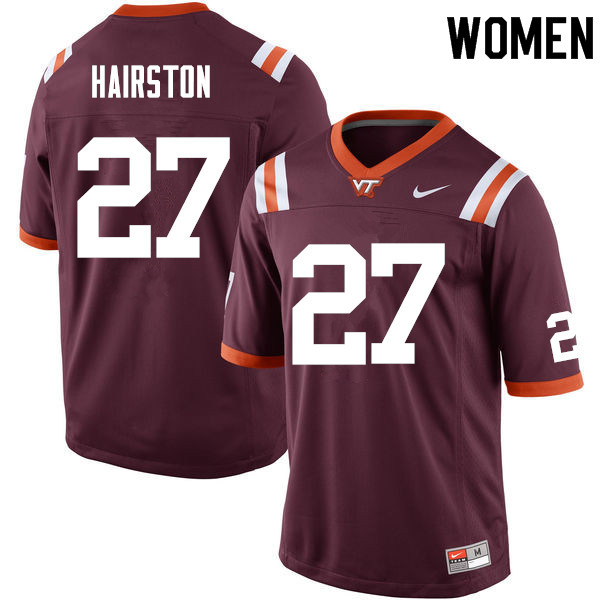 Women #27 Justin Hairston Virginia Tech Hokies College Football Jerseys Sale-Maroon