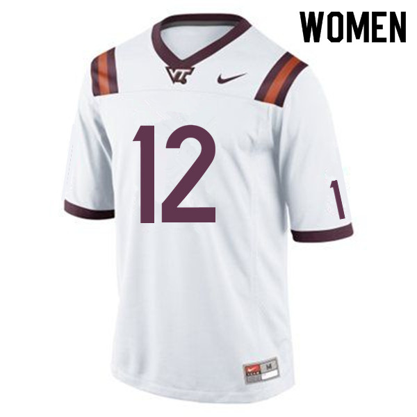 Women #12 Knox Kadum Virginia Tech Hokies College Football Jerseys Sale-White
