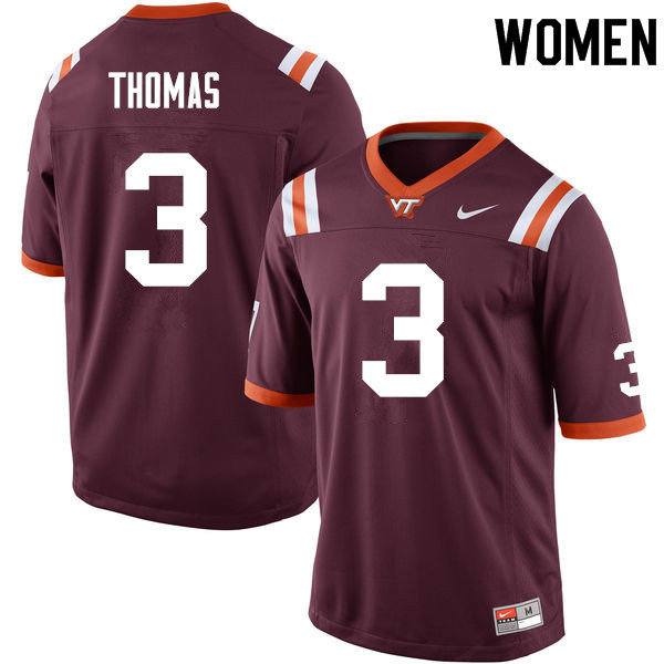 Women #3 Logan Thomas Virginia Tech Hokies College Football Jerseys Sale-Maroon
