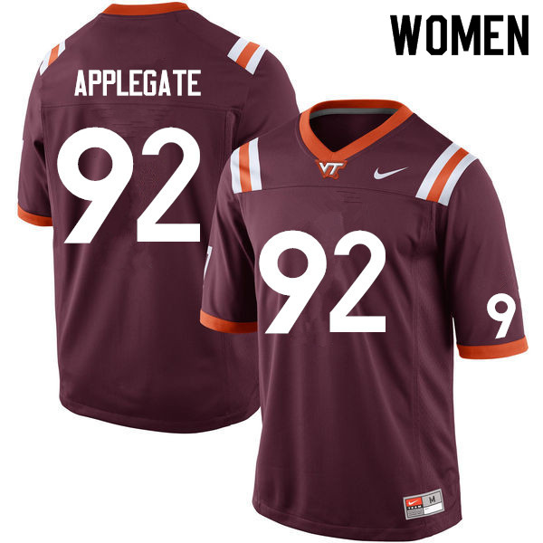 Women #92 Mark Applegate Virginia Tech Hokies College Football Jerseys Sale-Maroon