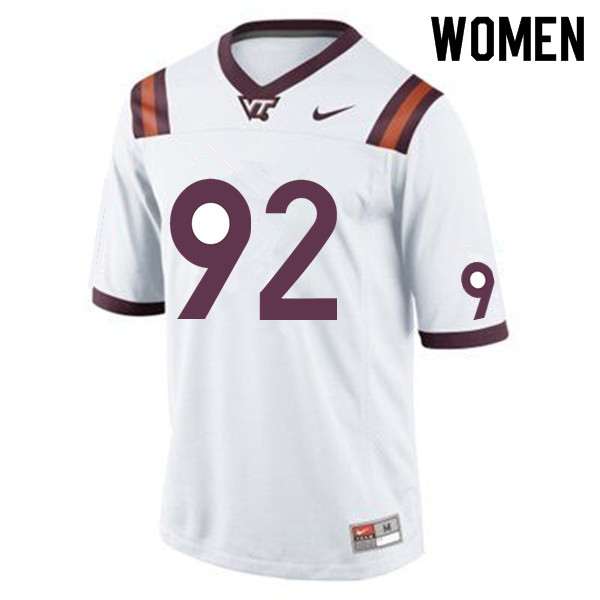 Women #92 Mark Applegate Virginia Tech Hokies College Football Jerseys Sale-White