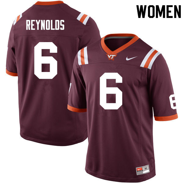 Women #6 Mook Reynolds Virginia Tech Hokies College Football Jerseys Sale-Maroon