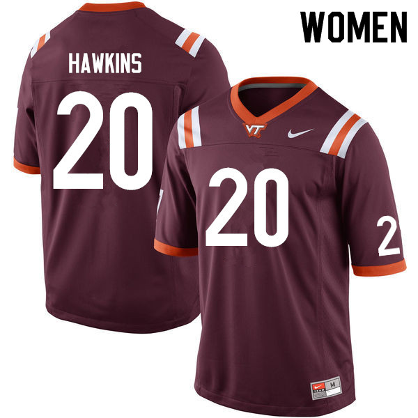 Women #20 Ny'Quee Hawkins Virginia Tech Hokies College Football Jerseys Sale-Maroon
