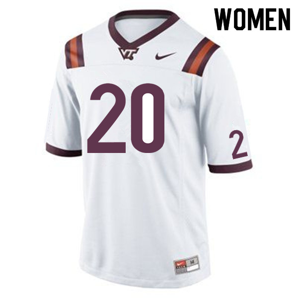 Women #20 Ny'Quee Hawkins Virginia Tech Hokies College Football Jerseys Sale-White