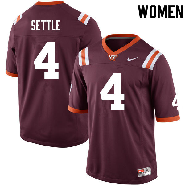 Women #4 Tim Settle Virginia Tech Hokies College Football Jerseys Sale-Maroon