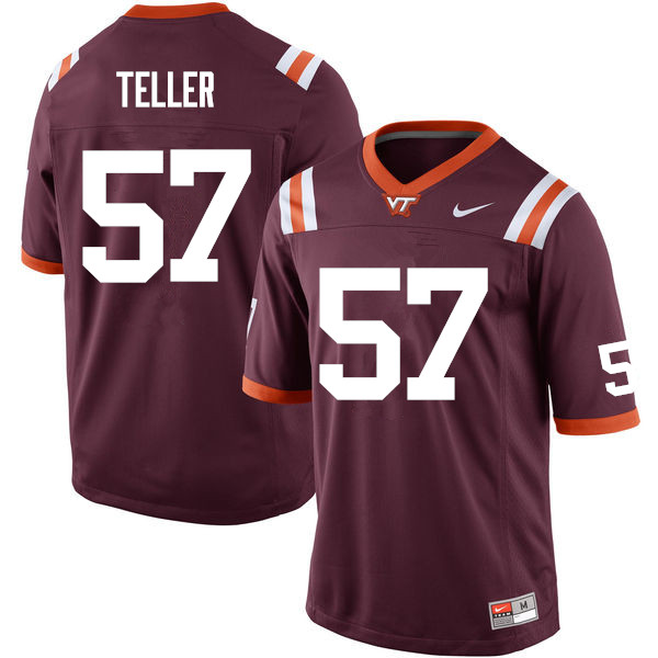 Men #57 Wyatt Teller Virginia Tech Hokies College Football Jerseys Sale-Maroon