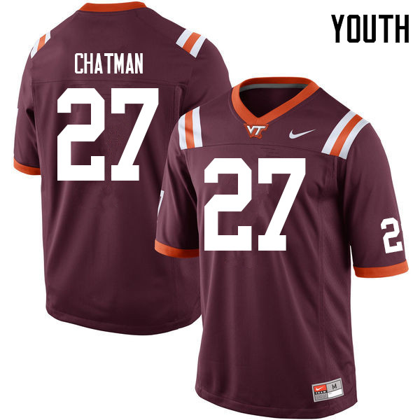 Youth #27 Armani Chatman Virginia Tech Hokies College Football Jerseys Sale-Maroon