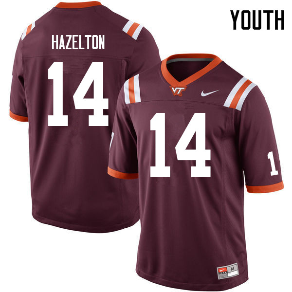 Youth #14 Damon Hazelton Virginia Tech Hokies College Football Jerseys Sale-Maroon