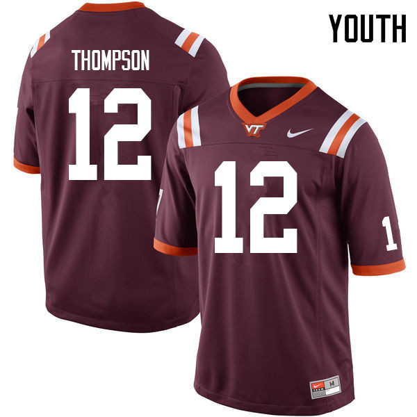 Youth #12 Nadir Thompson Virginia Tech Hokies College Football Jerseys Sale-Maroon