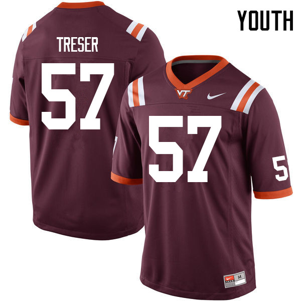 Youth #57 Zack Treser Virginia Tech Hokies College Football Jerseys Sale-Maroon
