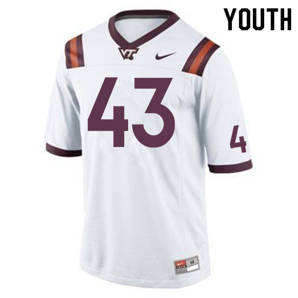 Youth #43 Cole Beck Virginia Tech Hokies College Football Jerseys Sale-Maroon