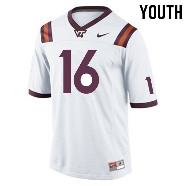Youth #16 Coleman Fox Virginia Tech Hokies College Football Jerseys Sale-Maroon