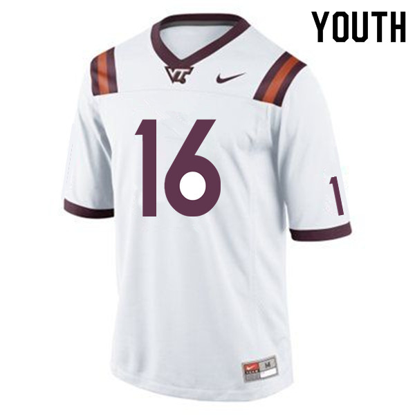Youth #16 Hunter Green Virginia Tech Hokies College Football Jerseys Sale-White