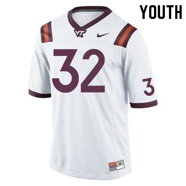 Youth #32 Ny'Quee Hawkins Virginia Tech Hokies College Football Jerseys Sale-White