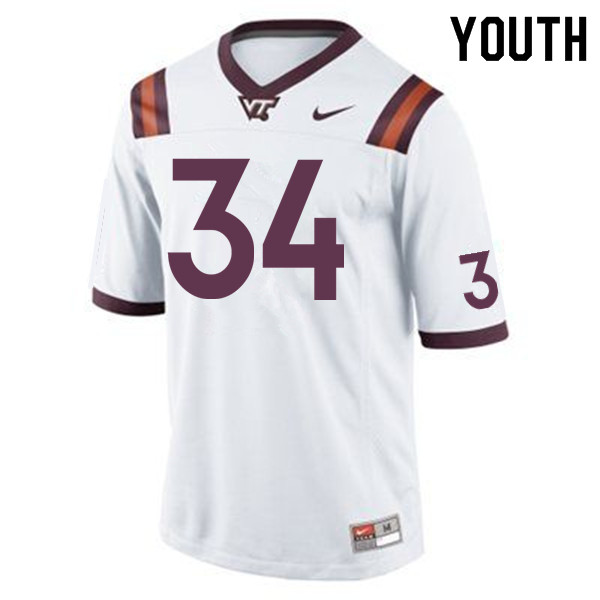 Youth #34 Tink Boyd Virginia Tech Hokies College Football Jerseys Sale-White