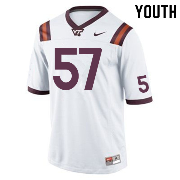 Youth #57 Wyatt Teller Virginia Tech Hokies College Football Jerseys Sale-Maroon