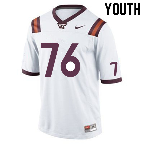 Youth #76 Brock Hoffman Virginia Tech Hokies College Football Jerseys Sale-White