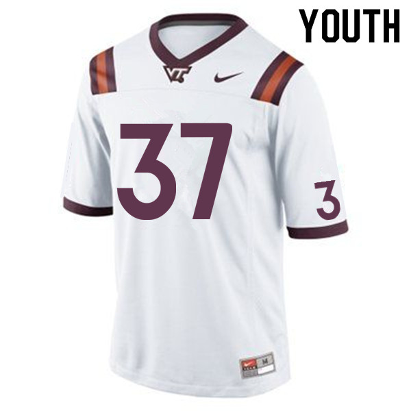 Youth #37 Carter Rivenburg Virginia Tech Hokies College Football Jerseys Sale-White