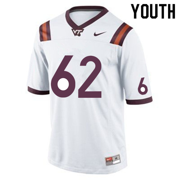 Youth #62 Gabe Sesco Virginia Tech Hokies College Football Jerseys Sale-White