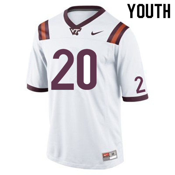 Youth #20 Ny'Quee Hawkins Virginia Tech Hokies College Football Jerseys Sale-White