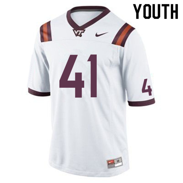 Youth #41 Ty Eller Virginia Tech Hokies College Football Jerseys Sale-White